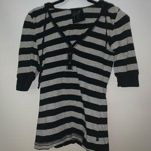 GARAGE quarter sleeve striped shirt